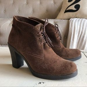 LA CANADIENNE   Korey Brown Suede Leather Booties